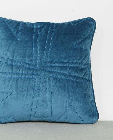 Federa per cuscino effetto velluto blu petrolio