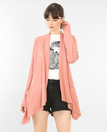 Cardigan morbido con lembi rosa