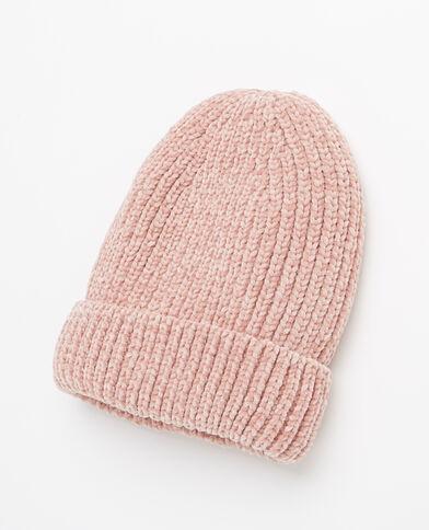 Berretto in maglia ciniglia rosa