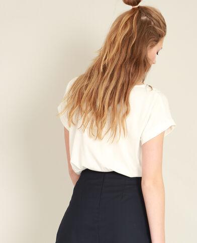 T-shirt collo perle bianco sporco