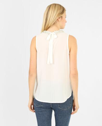 Blusa collo gioiello bianco sporco
