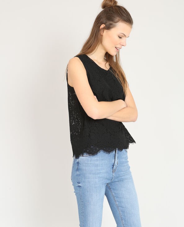 Top in pizzo nero