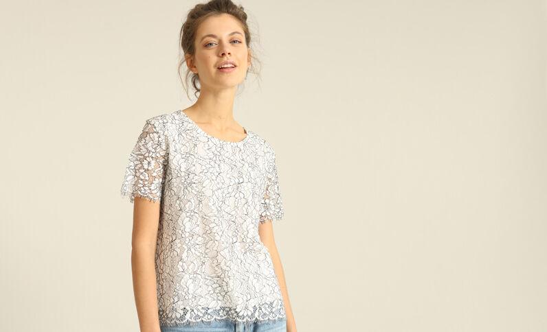 T-shirt in pizzo bianco