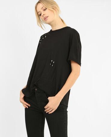 T-shirt con borchie nero