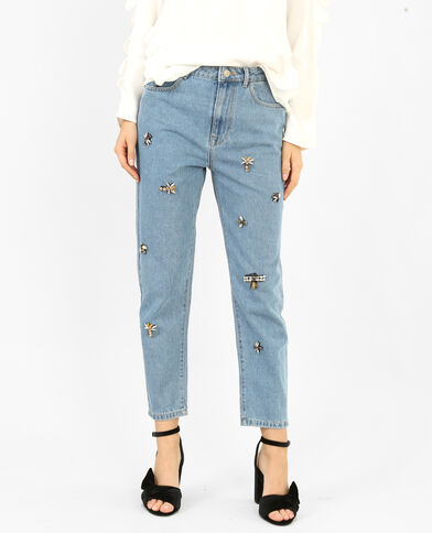 Jeans mom con perle blu