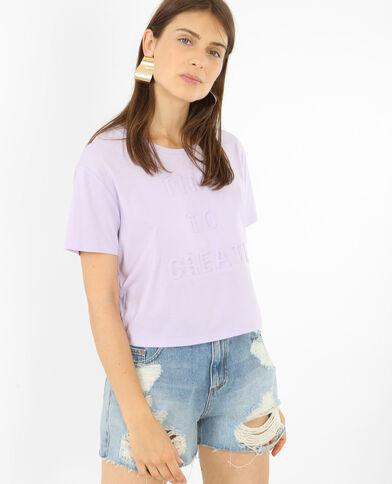 T-shirt cropped messaggio 3D viola