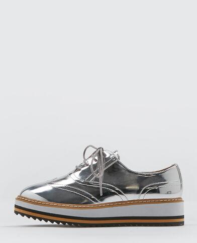 Scarpe derby con plateau grigio paillettato