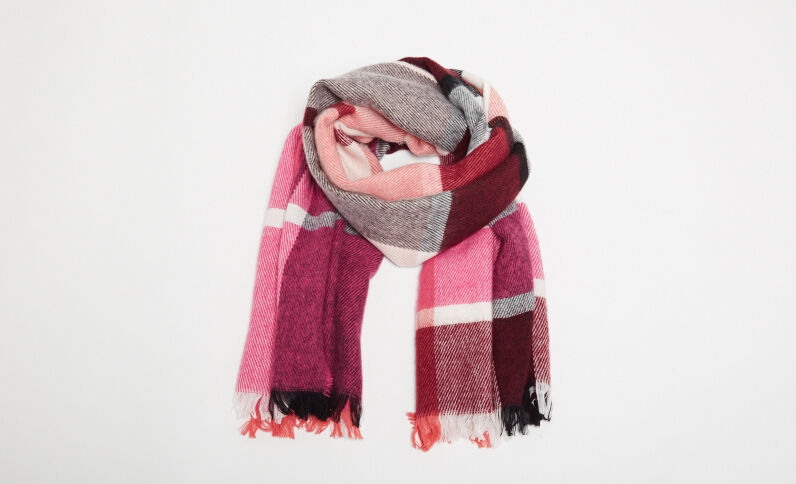 Sciarpa calda a quadri rosa