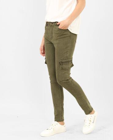 Pantalone skinny cargo kaki
