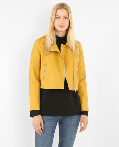 Giacca in similpelle giallo