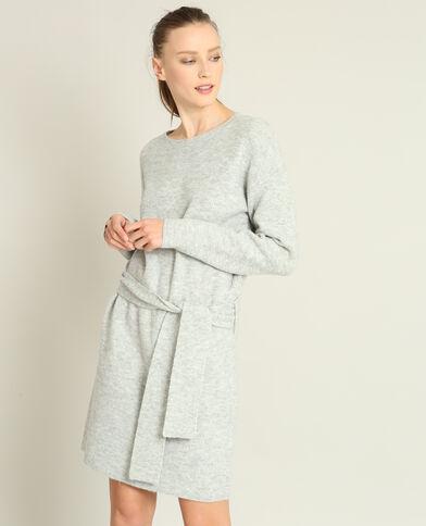Abito pull con cintura grigio chiné