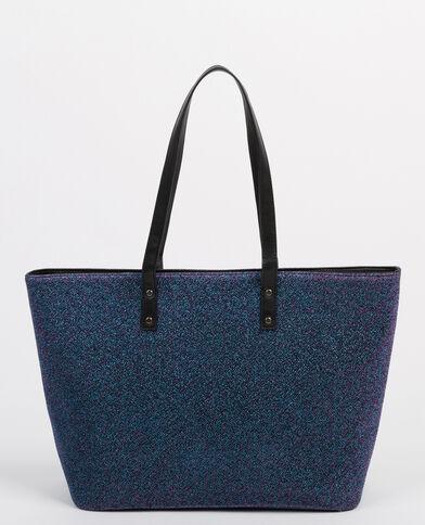 Borsa shopping lurex screziata blu