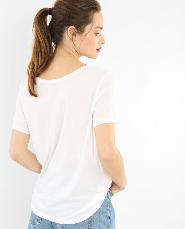 T-shirt collo raw cut bianco sporco