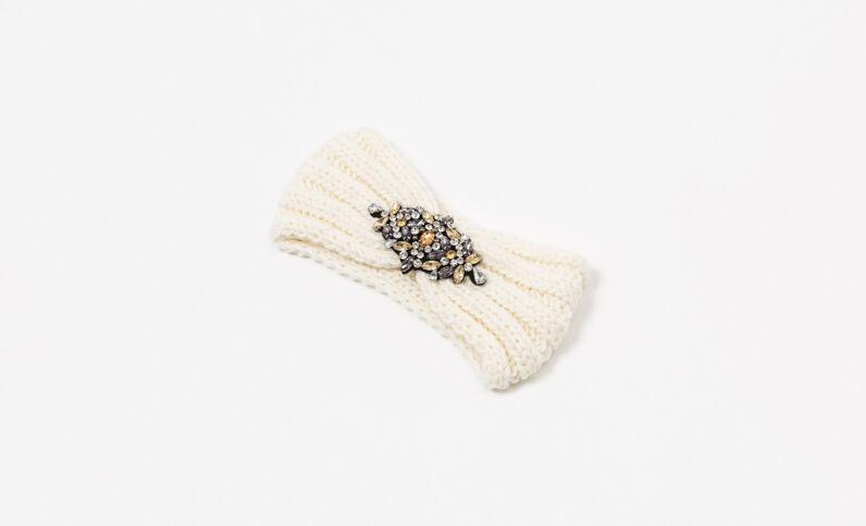 Headband con gioielli bianco sporco