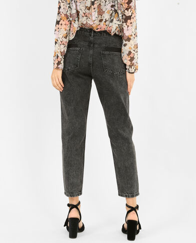 Jeans mom con zip. nero