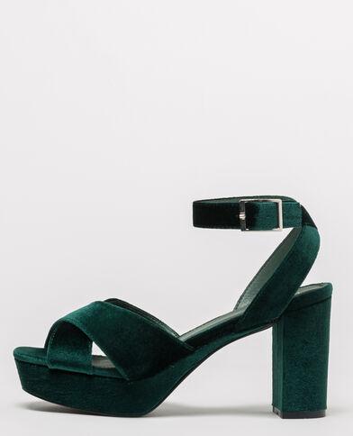 Sandali con plateau velluto verde