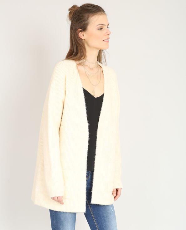 Cardigan in maglia calda beige
