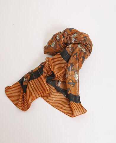 Foulard stampato marrone