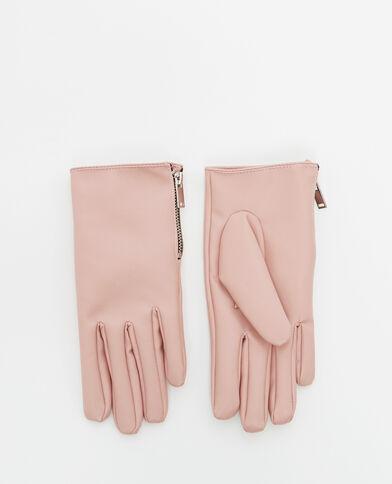 Guanti in finta pelle rosa