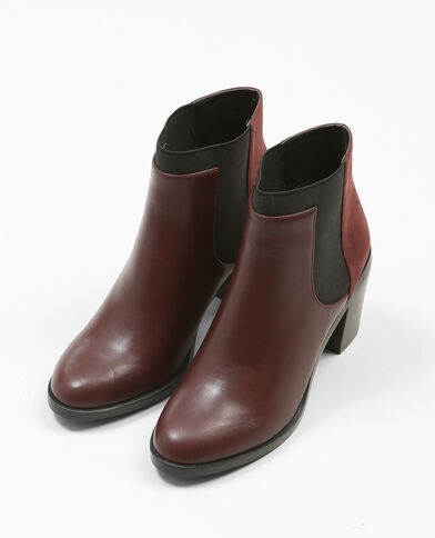 Boots con i tacchi bimateriale granata
