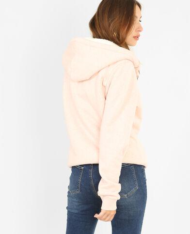 Cardigan con cappuccio rosa cipria