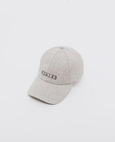 Cappellino a coste ricamato grigio chiaro chiné