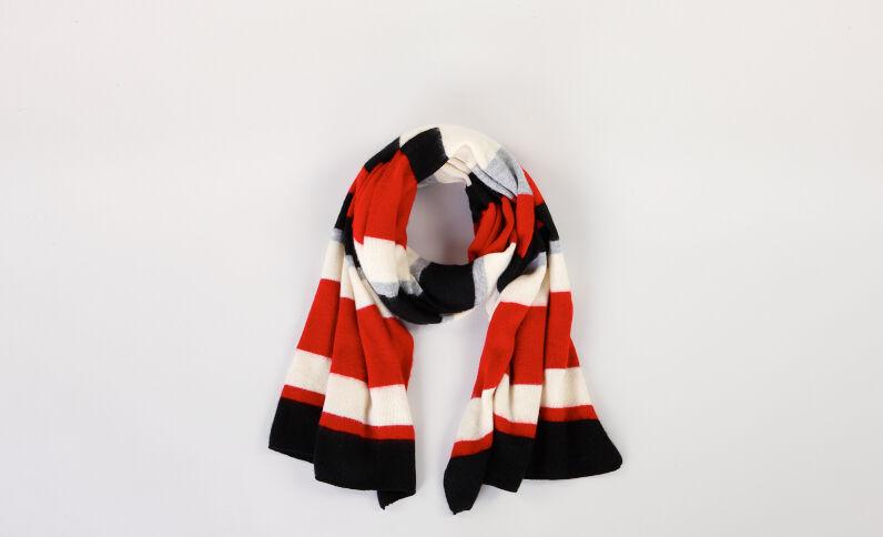 Larga sciarpa a righe Rosso