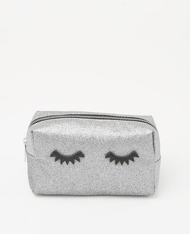 Trousse make up glitter eyes grigio paillettato