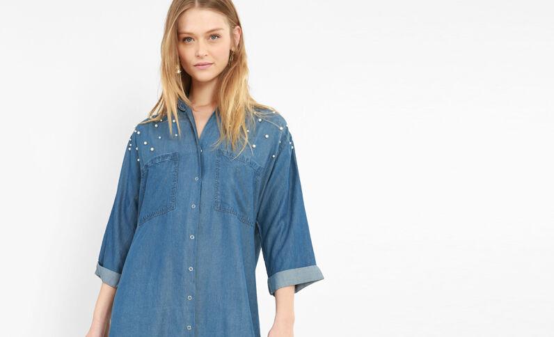 Abito camicia con perle blu