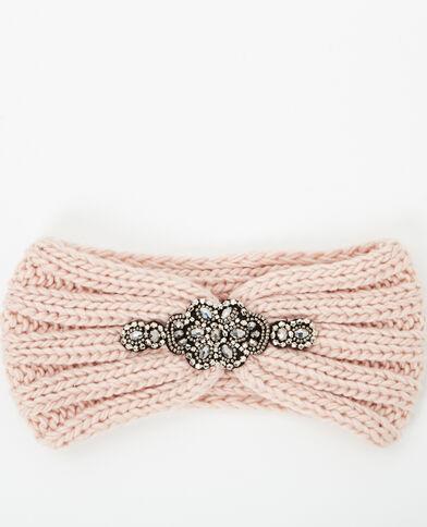 Headband con gioielli rosa