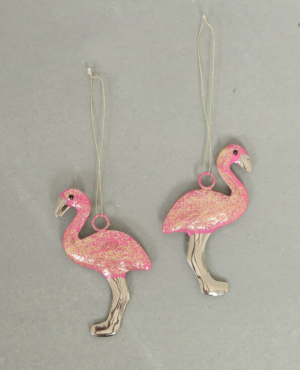 Lotto da 2 decorazioni fenicottero rosa rosa