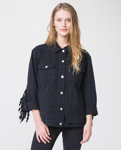 Giacca in jeans con frange nero
