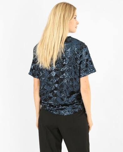 T-shirt con paillettes blu