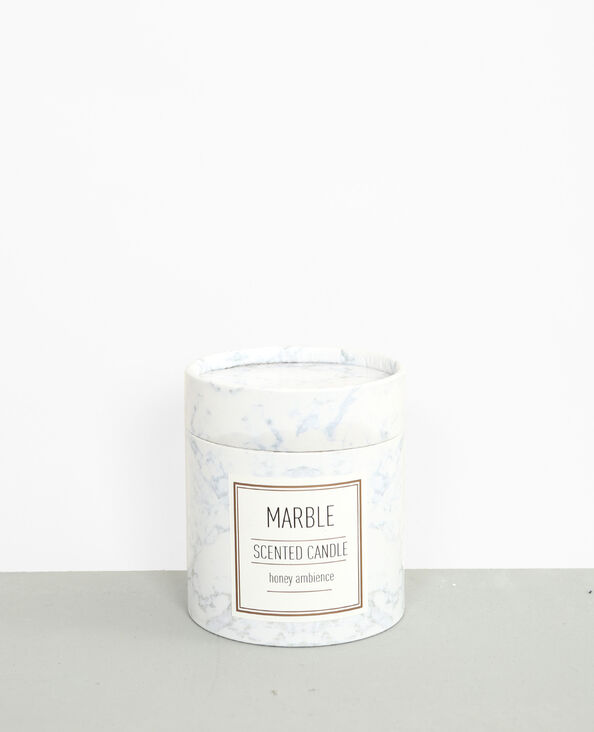 "- Candela profumata ""Honey"" marmorizzata bianco sporco"