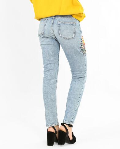 Jeans slim ricamato blu denim