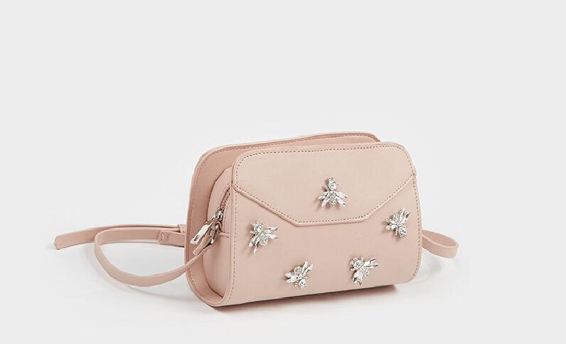 Piccola borsa boxy api rosa cipria