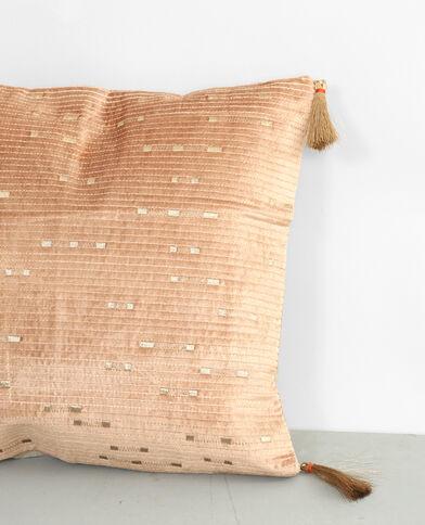Federa per cuscino ricamata rosa