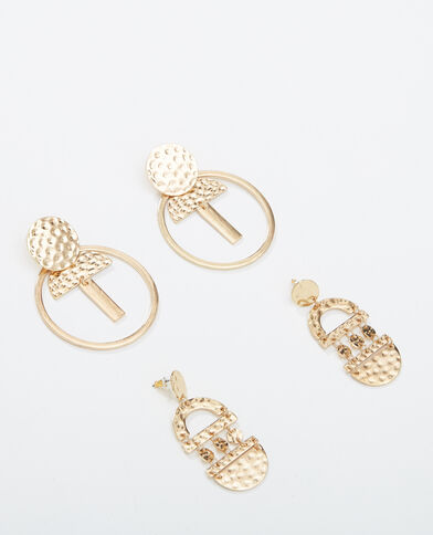 Lotto da 2 paia di orecchini dorato