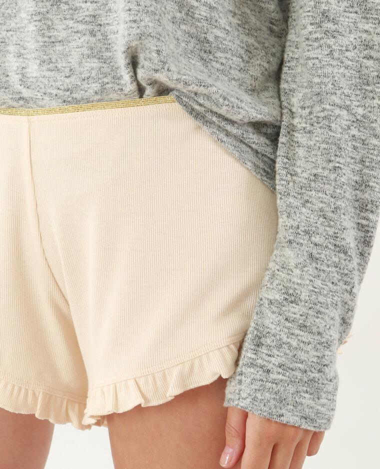 Short homewear con volant rosa cipria