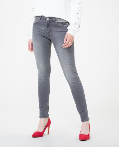 Skinny mid waist grigio delavato