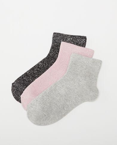 Lotto da 3 paia di calze lurex nero