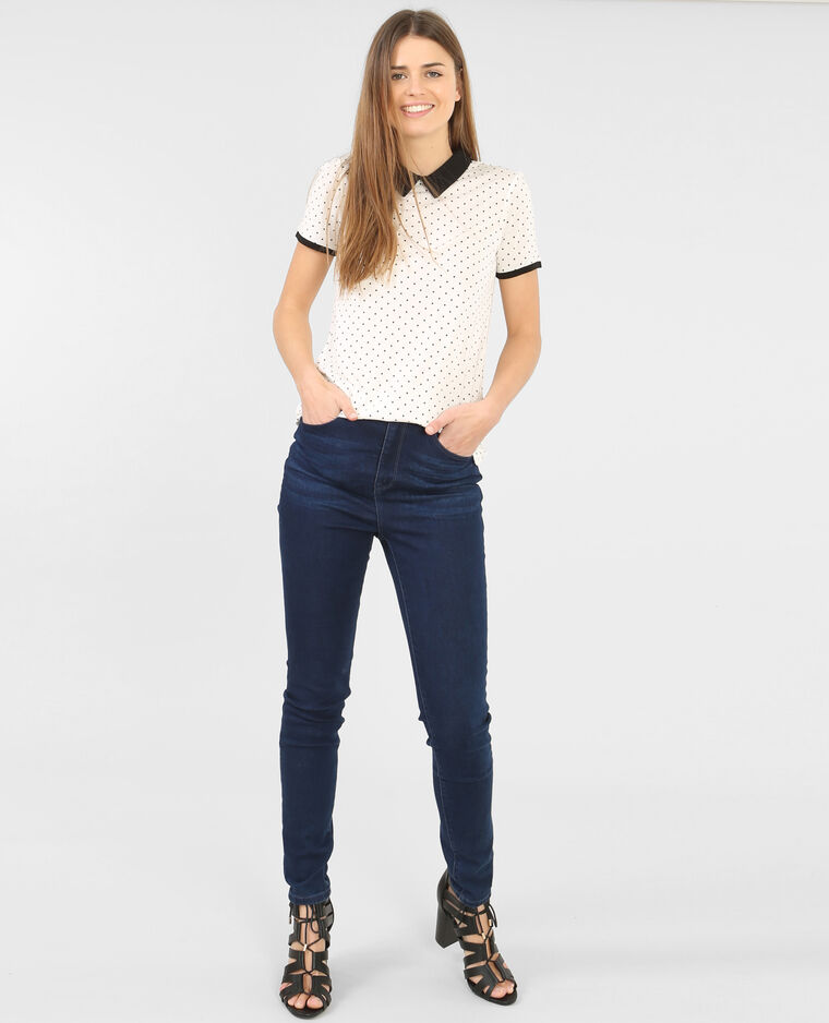 T-shirt stampata colletto claudine bianco sporco