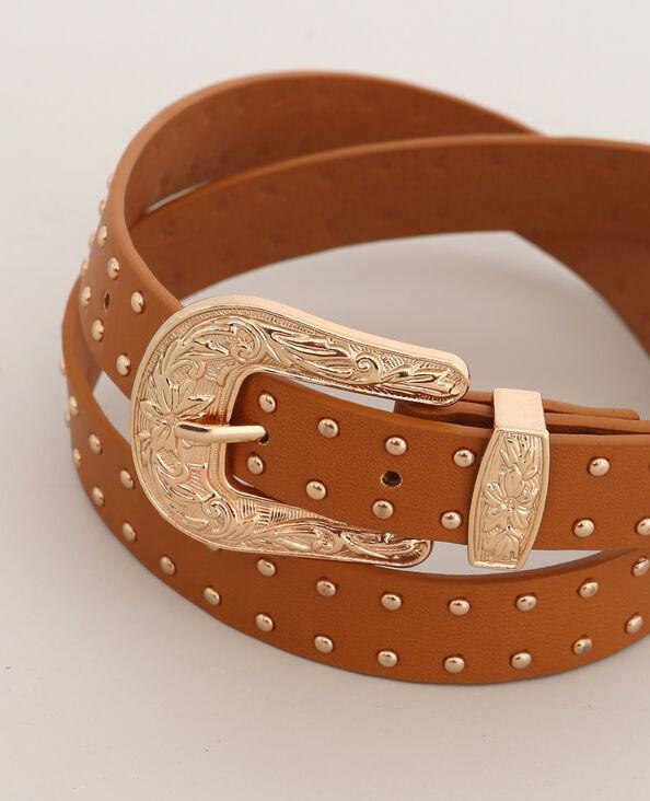 Cintura con borchie beige sabbia
