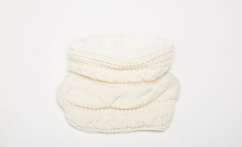 Collo in pelliccia ecologica bianco sporco