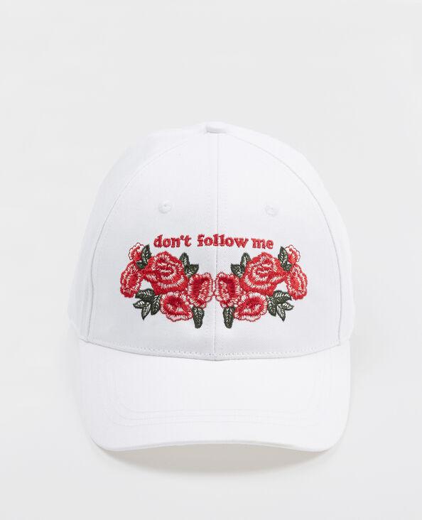 Cappellino con ricami bianco