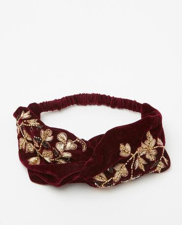 Headband in velluto con ricami e perle rosso