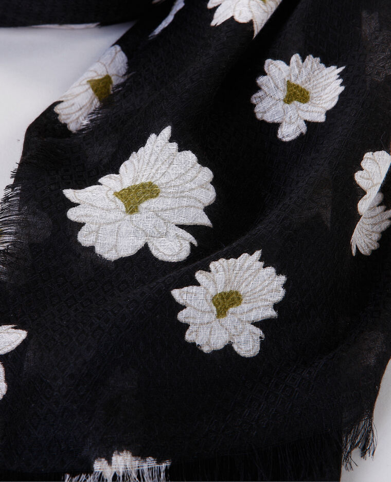 Foulard stampato margherite nero