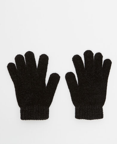Guanti in maglia ciniglia nero