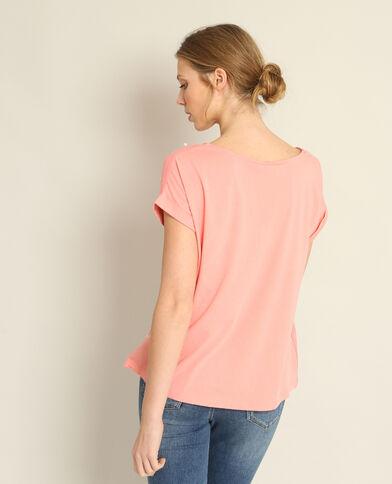 T-shirt collo perle rosa