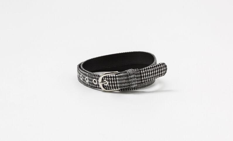 Cintura con stampa pied de poule nero